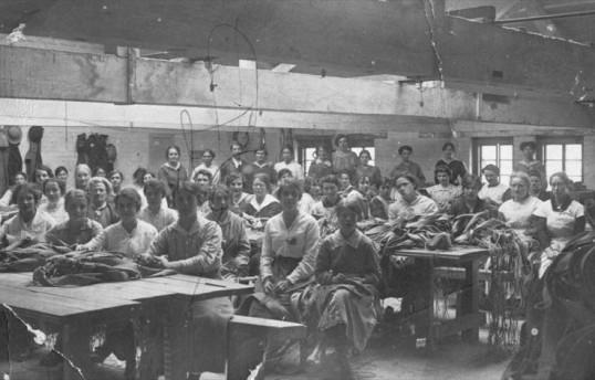 Great War - women making parachutes at Wimpole