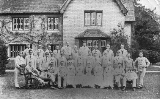 Staff and Wounded Soldiers at The Firs, Histon