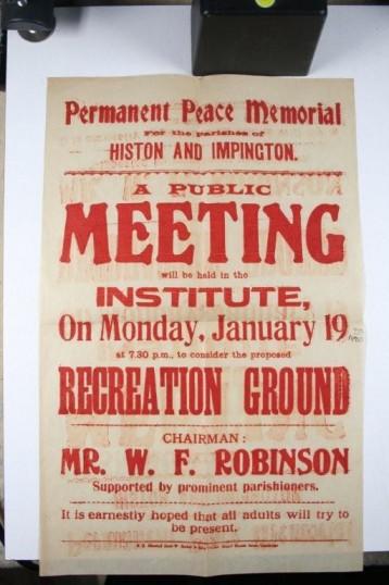 Histon Peace Memorial Advert
