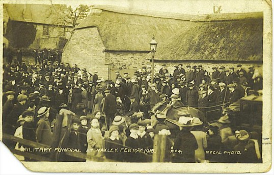 The military funeral of Samuel Garrett at St Peter's Church, Yaxley on 10th February 1915