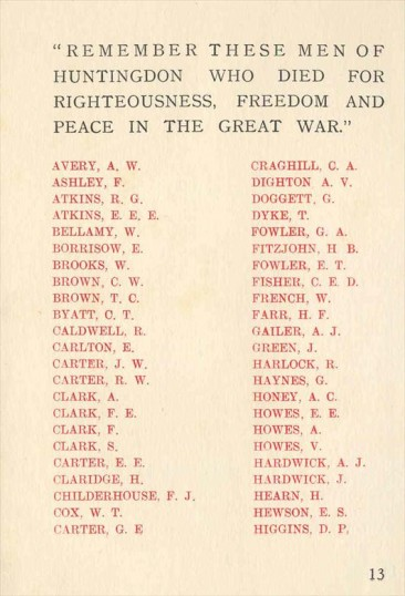 Names on the Roll of Honour for Huntingdon War Memorial