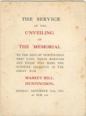 Huntingdon War Memorial - Service Sheet for unveiling ceremony, 11/11/1923