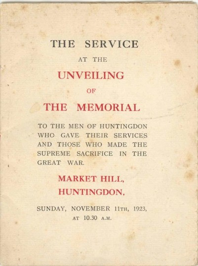 Service sheet for the Huntingdon War Memorial service on 11/11/23