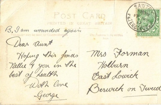Postcard sent by George Bickerton