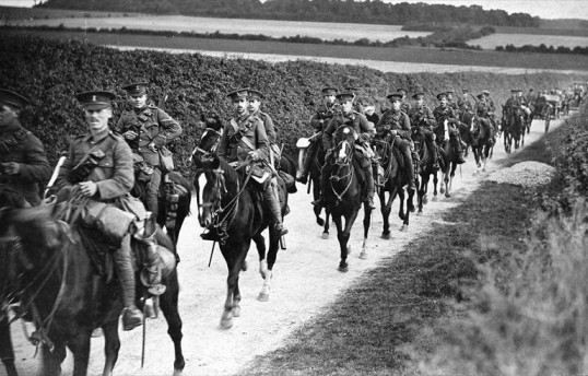 Cavalry soldiers in Cambridgeshire in 1912
