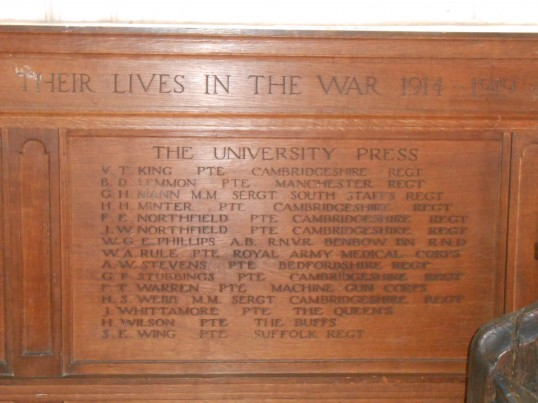 Cambridge University Press Memorial, St Botolph's Church, Cambridge