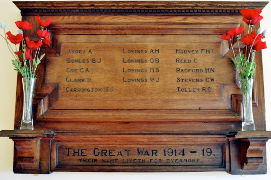 Great War Memorial in Romsey Mill,Cambridge (formerly Romsey Methodist Church)
