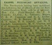 Cambs Regiment Officers Mobilised