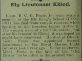 Ely Lieutenant Killed