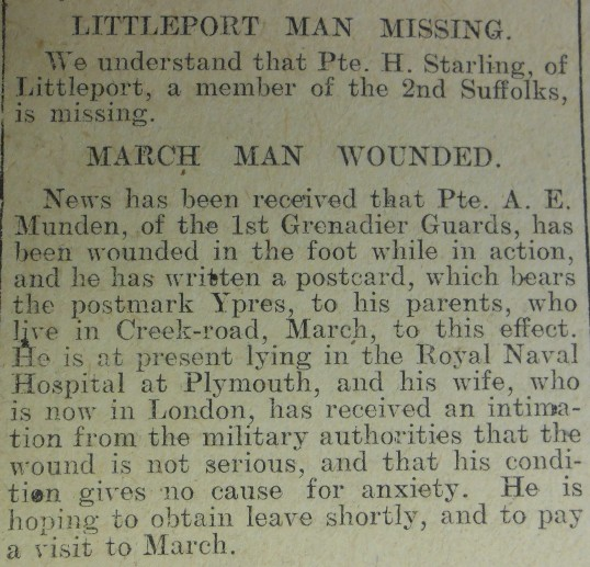 Missing and Wounded Local Men