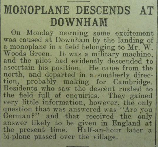 Monoplane at Downham