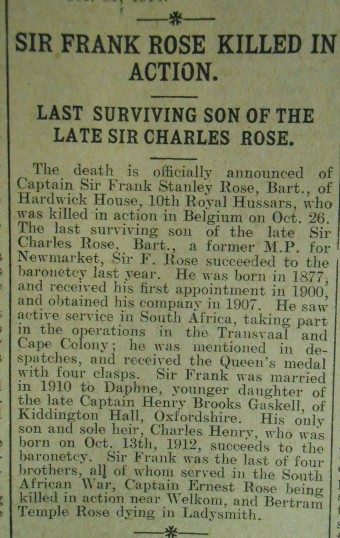 Death of Sir Frank Rose