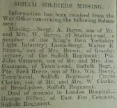 Soham Soldier Missing