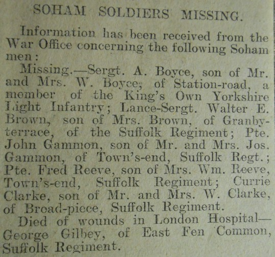 Soham Soldier Missing