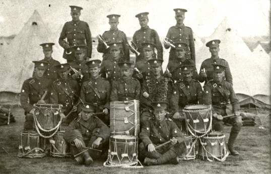 Members of the 11th Suffolks Band, Cambridge circa 1914