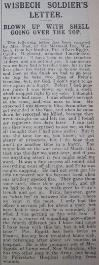 Private Albert Eggitt's Experience of War