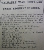Cambridgeshire Regiment Honours