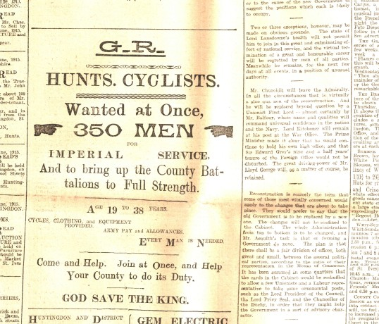 Recruitment advert for the Huntingdonshire Cyclist Battalion