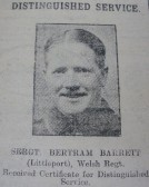 Bertram Barrett received Distinguished Service Certificate