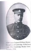 Humphreys William Horace, Lance Corporal 13785, 11th Suffolks. Died 1st July 1916, From Comberton