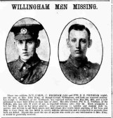 Pridham,Ernest Edwin. Regiment number 13542, 11th Battalion of the Suffolks.Died 1st July 1916, from Willingham.