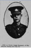Tack, Allen.Regiment number 16893 of 11th Battalion of the Suffolks.Died 1st July 1916 from Dry Drayton.
