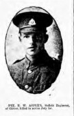 Asplen, Horace William.Regiment number 17354. Died 1-7-1916. From Girton