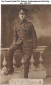 Tyndall Thomas, Pte 3/9447 11th Bn Suffolk Regiment. KIA 28/4/1917. From Gorefield.
