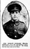 Brand, Horace Everard. Regiment number 13772 11th Battalion of the Suffolks. Died 1st July 1916, from Duxford