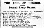 Anable, Harry. Regiment number 18721 of Battalion of Suffolks.Died 1st July 1916. From Dry Drayton.