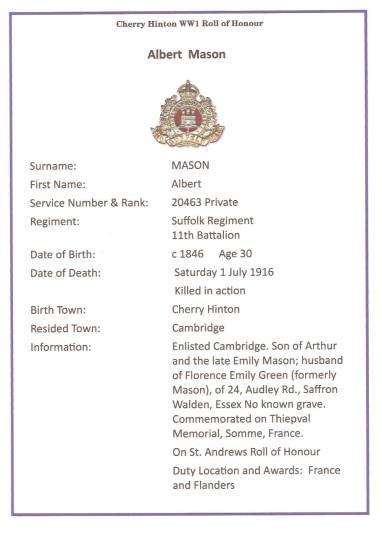 Mason, Albert, Pte 20463 11th Battalion Suffolk Regiment, KIA 1st July 1916, From Cambridge (Cherry Hinton)