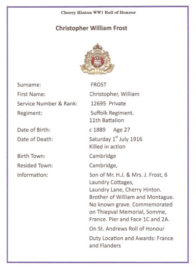 Frost, Christopher William, Pte 12695 11th Battalion Suffolk Regiment, KIA 1st July 1916, From Cambridge (Cherry Hinton)