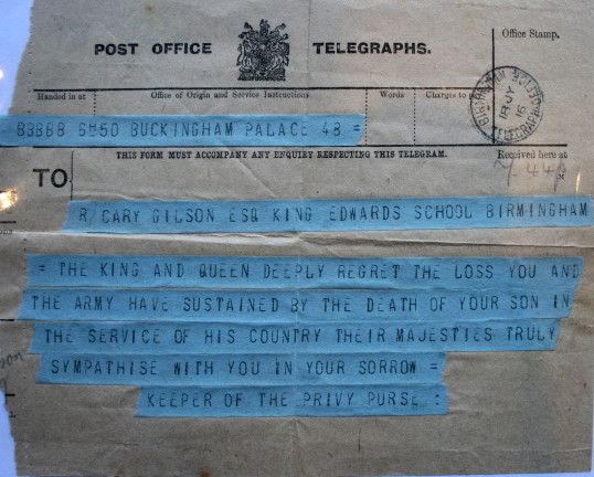 Telegram sent to Rob's Father from the King & Queen 18th July 1916