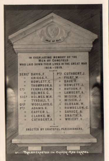 Joseph Cuthbert , 7th Battalion of the Suffolks. Died 12th Oct 1916. From Gorefield