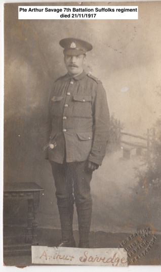 Savidge ( Savage) Arthur Pte. From Gorefield