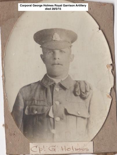 Gorefield WW1Soldiers from War memorial Cpl G. Holmes (George) Ref Gor Church 009