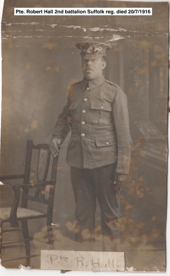 Gorefield WW1Soldiers from War memorial Pte. R. Hall Ref Gor Church 011