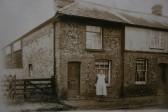 Balsham - Emily Heath (nee Plumb) outside No.6 West Wickham Road. House was demolished in 1970s.