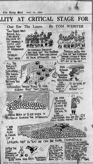 Hildersham - 'The Hildersham Rangers' - cartoon about the football team in the Daily Mail