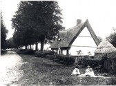 Little Abington - Cambridge Road. Thatched cottage demolished in 1930 when new bungalow was built for Franklin's of Ley Rectory Farm.