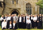 Balsham - Balsham Singers outside Holy Trinity Church.