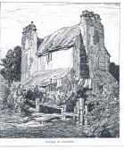 Balsham - drawing of Nine Chimney House in ruinous state.