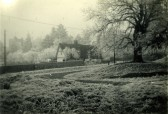 Hildersham Church Cottages on a frosty 1929 morning