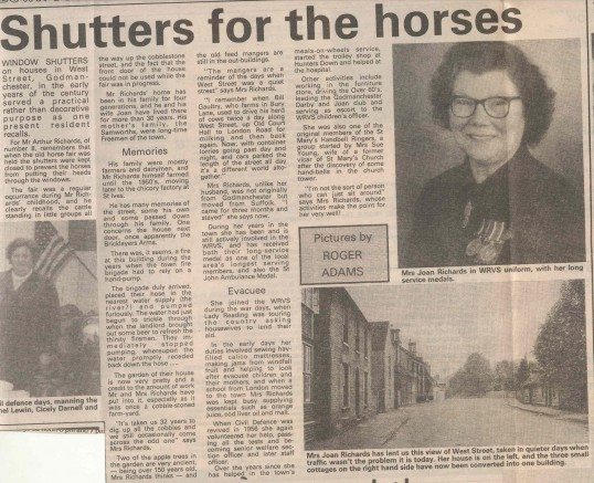Joan Richards - part two. West Street Godmanchester. ( source-The Weekly News.)