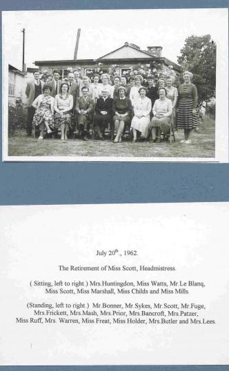 Huntingdon County Primary School. The retirement of Miss Scott, Headmistress.