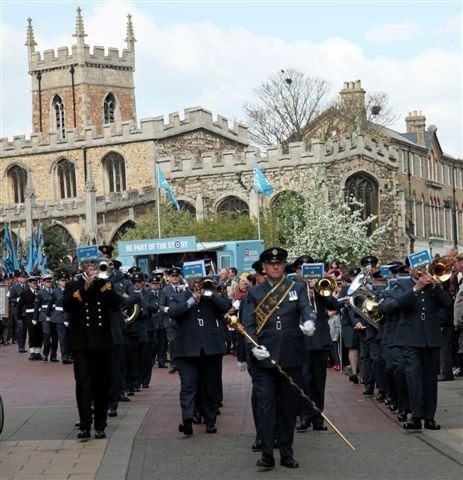 Royal Air Force exercising the right of the Freedom of Huntingdon - 1955 - 2011.Photo David King.