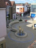 The water features in St Benedict's Court, Huntingdon,   as viewed from Waitrose roof carpark. They replaced the Gazebo in 2006.