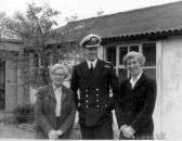 Miss Scott, Headmistress Huntingdon Primary School with the Captain of S S Huntingdon and Miss Marshall, Class Teacher.