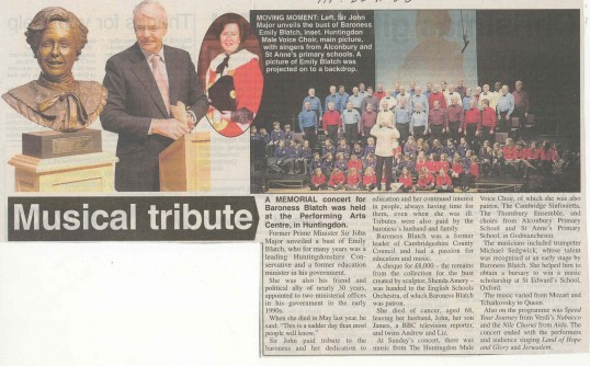 Musical tribute to Lady Emily Blatch.  (source Hunts Post.)