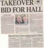 Battle for who should run the Commemoration Hall, Huntingdon.  (source Town Crier.)